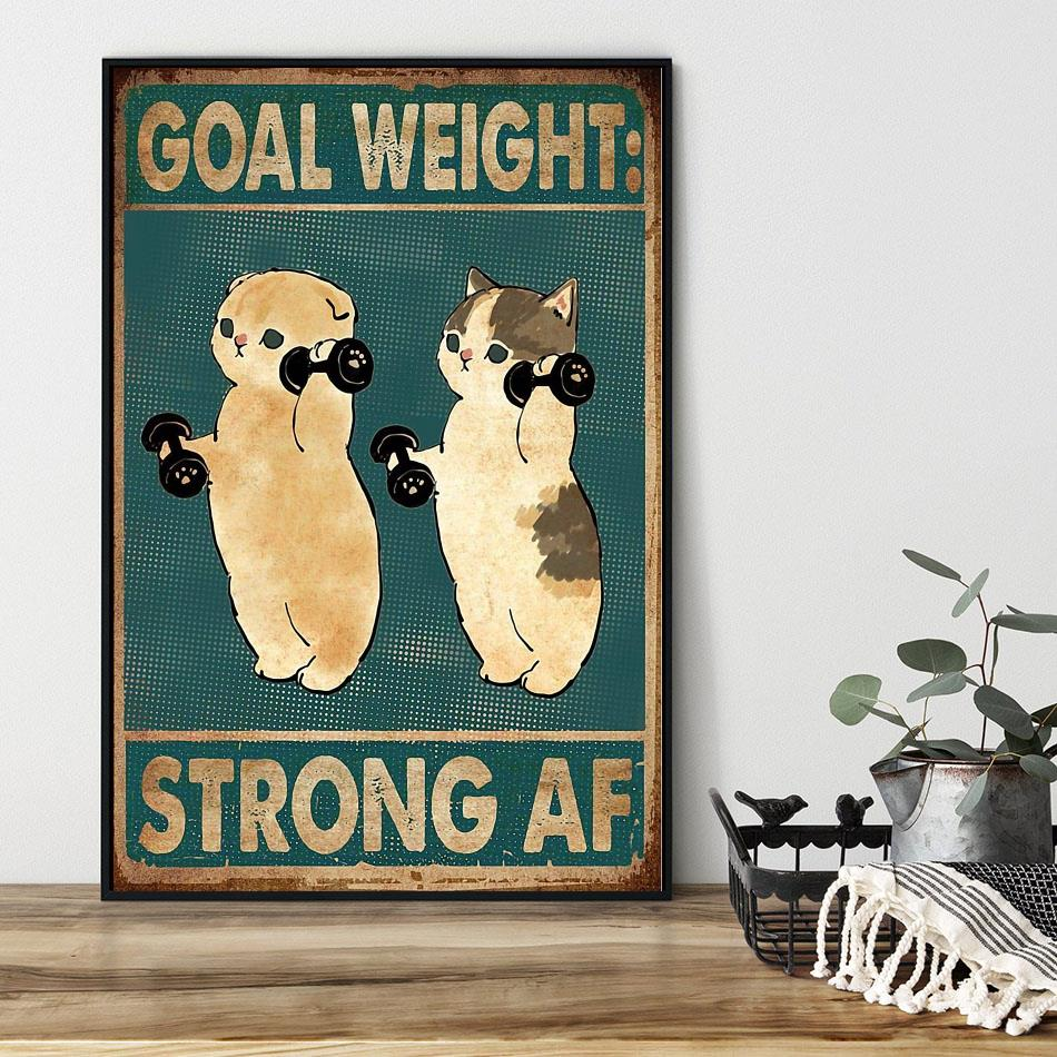 Fitness goal weight strong af cat weightlifting poster black
