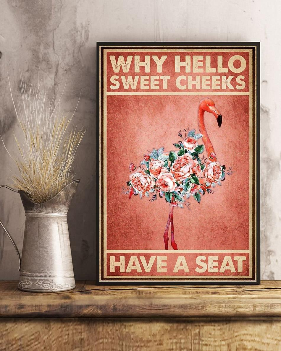 Flamingo why hello sweet cheeks have a seat canvas art