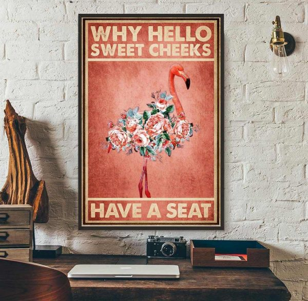 Flamingo why hello sweet cheeks have a seat canvas wall art