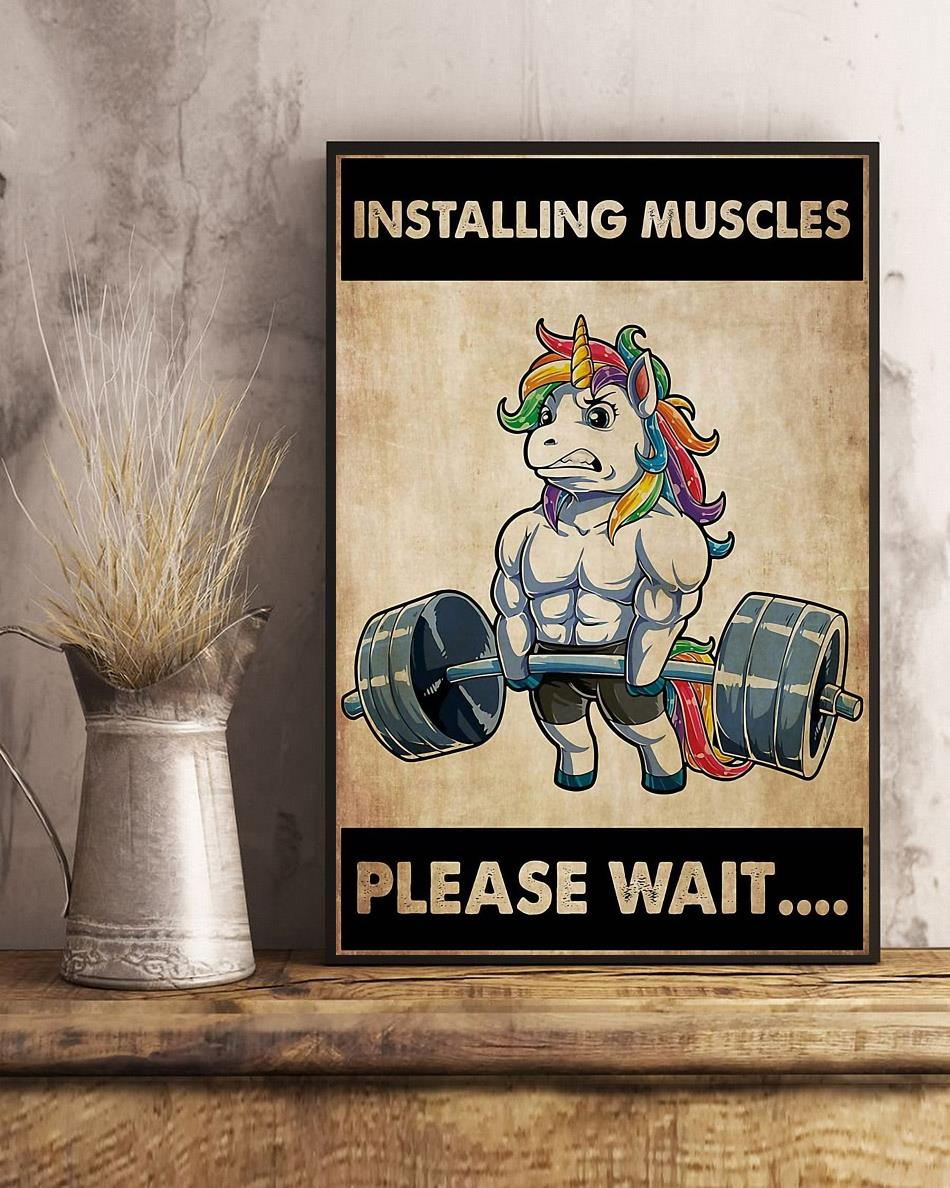 Installing muscles please wait unicorn weightlifting poster art