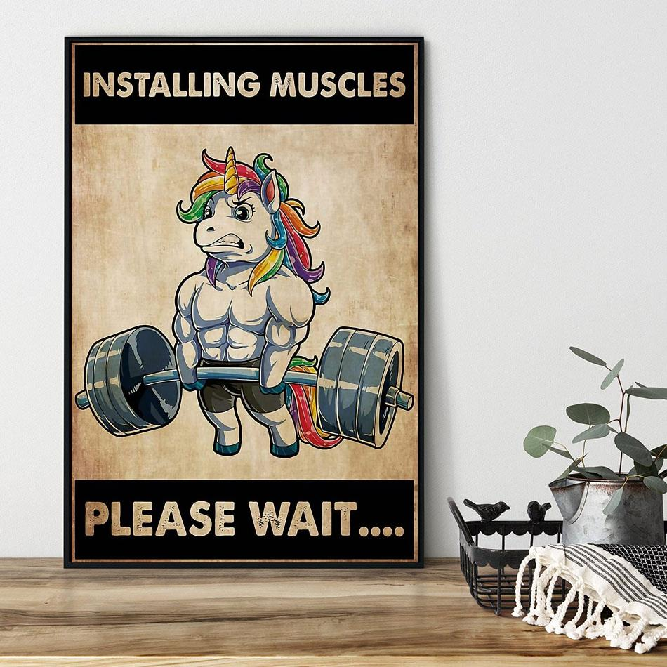 Installing muscles please wait unicorn weightlifting poster black