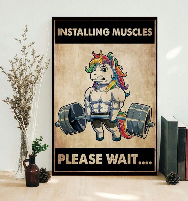 Installing muscles please wait unicorn weightlifting poster