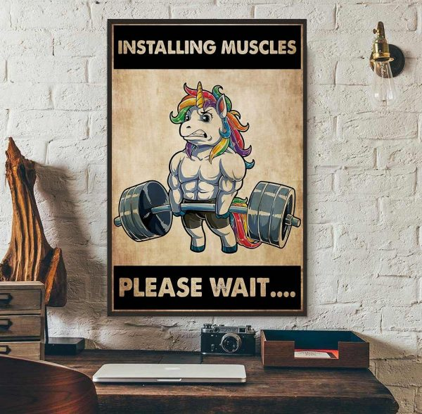 Installing muscles please wait unicorn weightlifting poster wall art