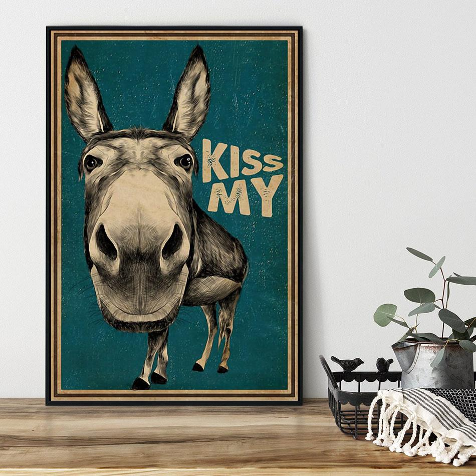 Kiss My Donkey poster canvas black