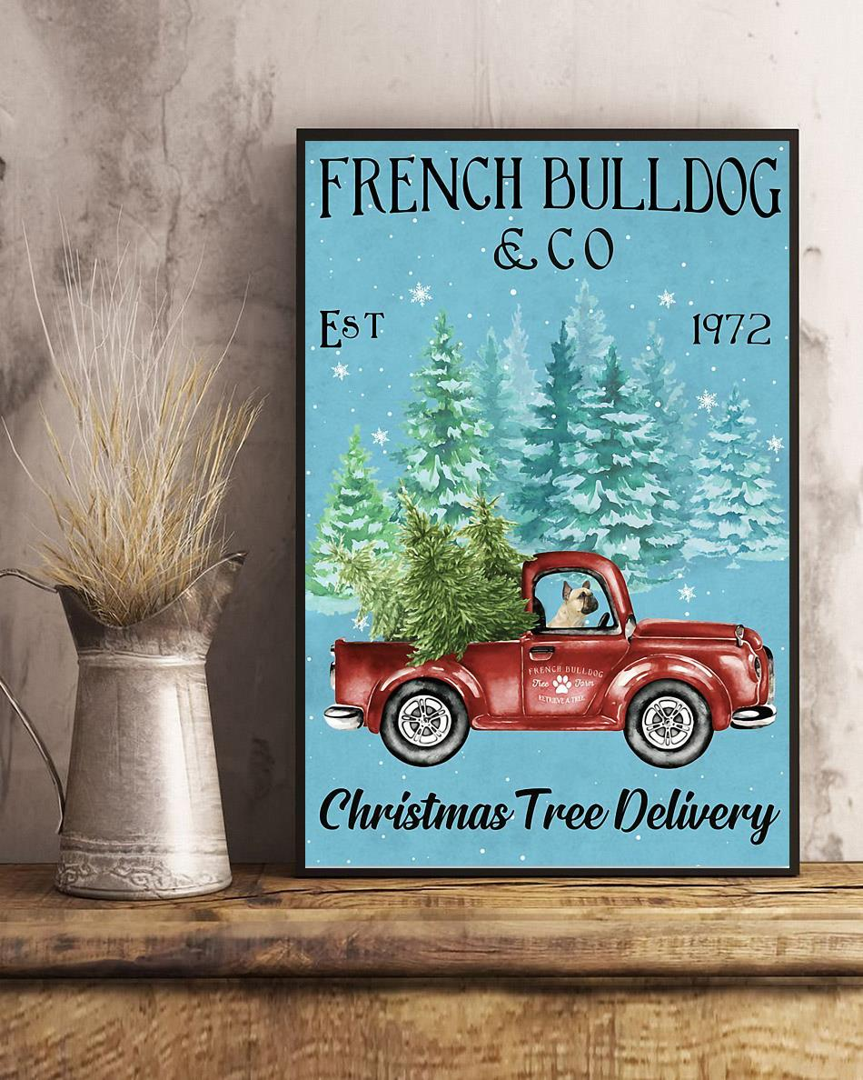 Merry Christmas French Bulldog Christmas Tree Delivery poster art