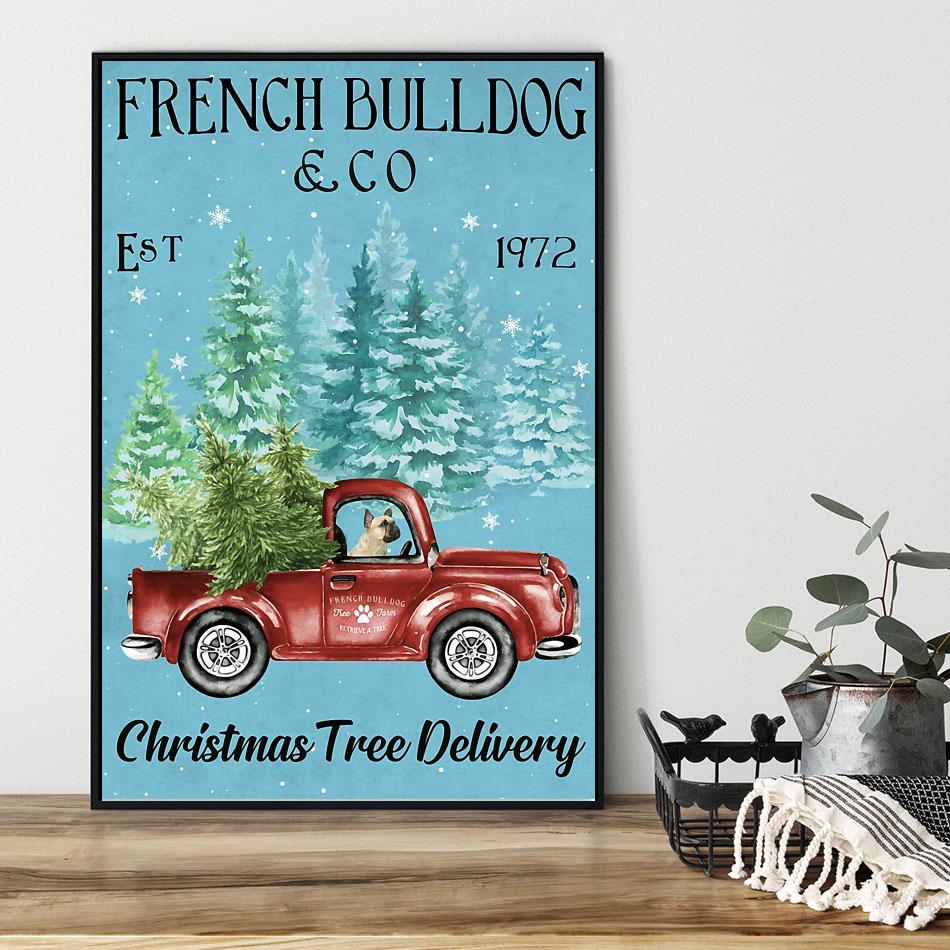 Merry Christmas French Bulldog Christmas Tree Delivery poster black