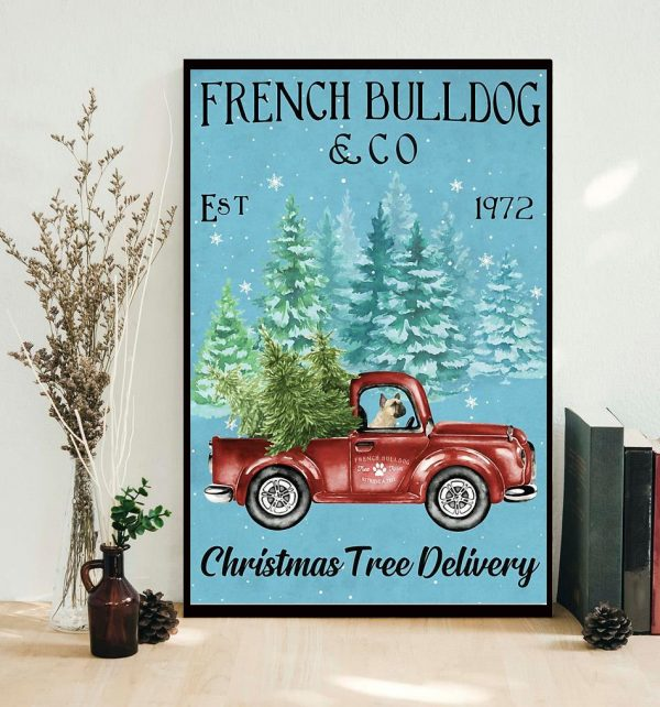Merry Christmas French Bulldog Christmas Tree Delivery poster