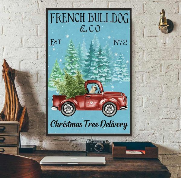Merry Christmas French Bulldog Christmas Tree Delivery poster wall art