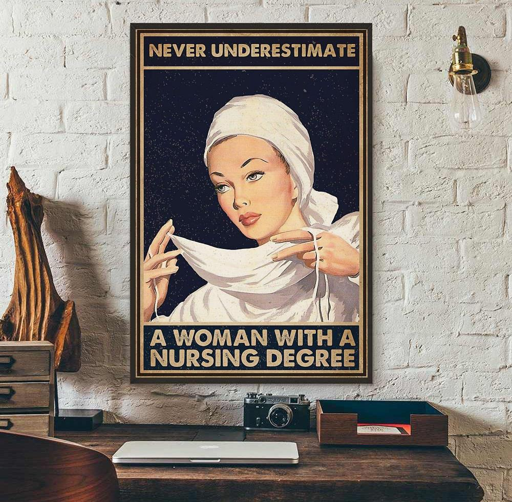 Floral Never Underestimate An Old Woman With A Nursing Degree Portrait Poster