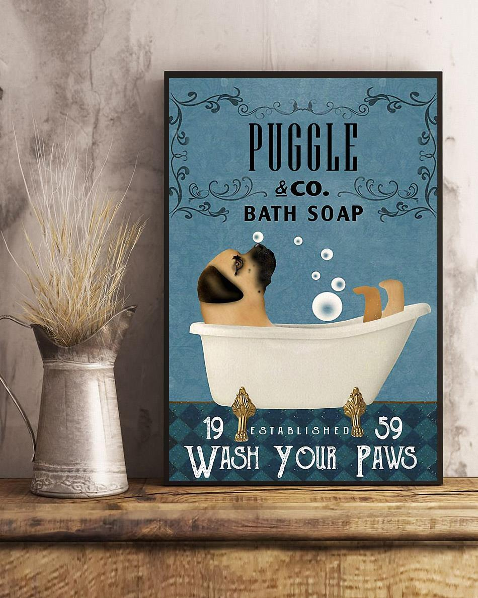 Puggle bath soap wash your paws poster art