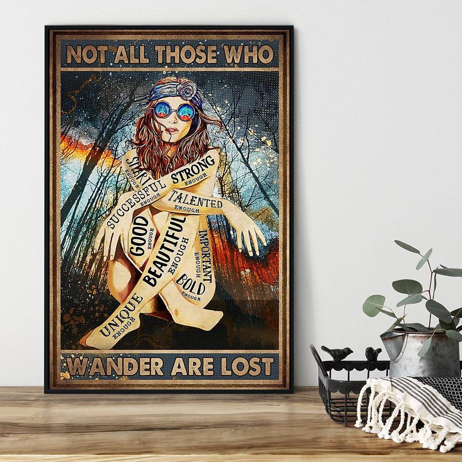 Redhead not all those who wander are lost poster black