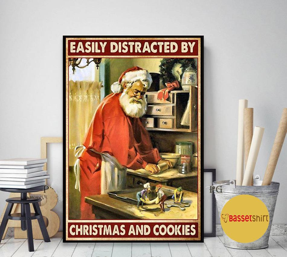 Santa Claus easily distracted by Christmas and cookies poster art decor