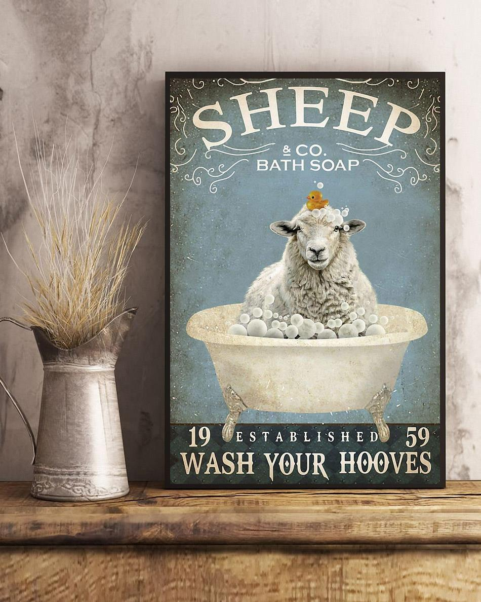 Sheep bath soap wash your hooves poster canvas art