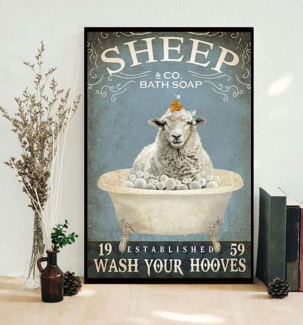 Sheep bath soap wash your hooves poster canvas
