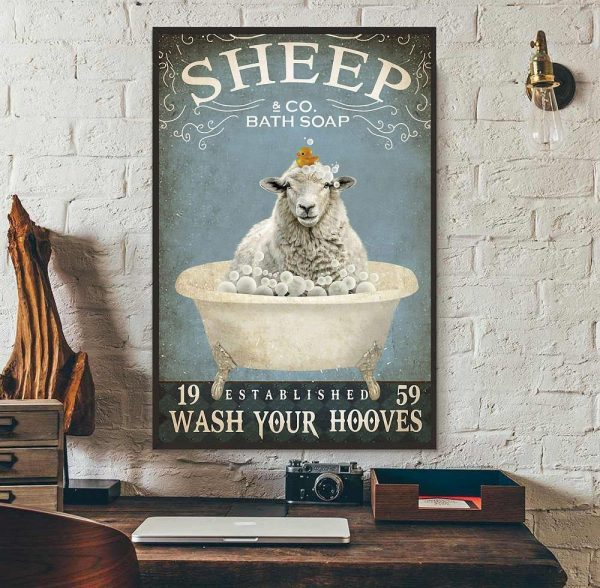 Sheep bath soap wash your hooves poster canvas wall art