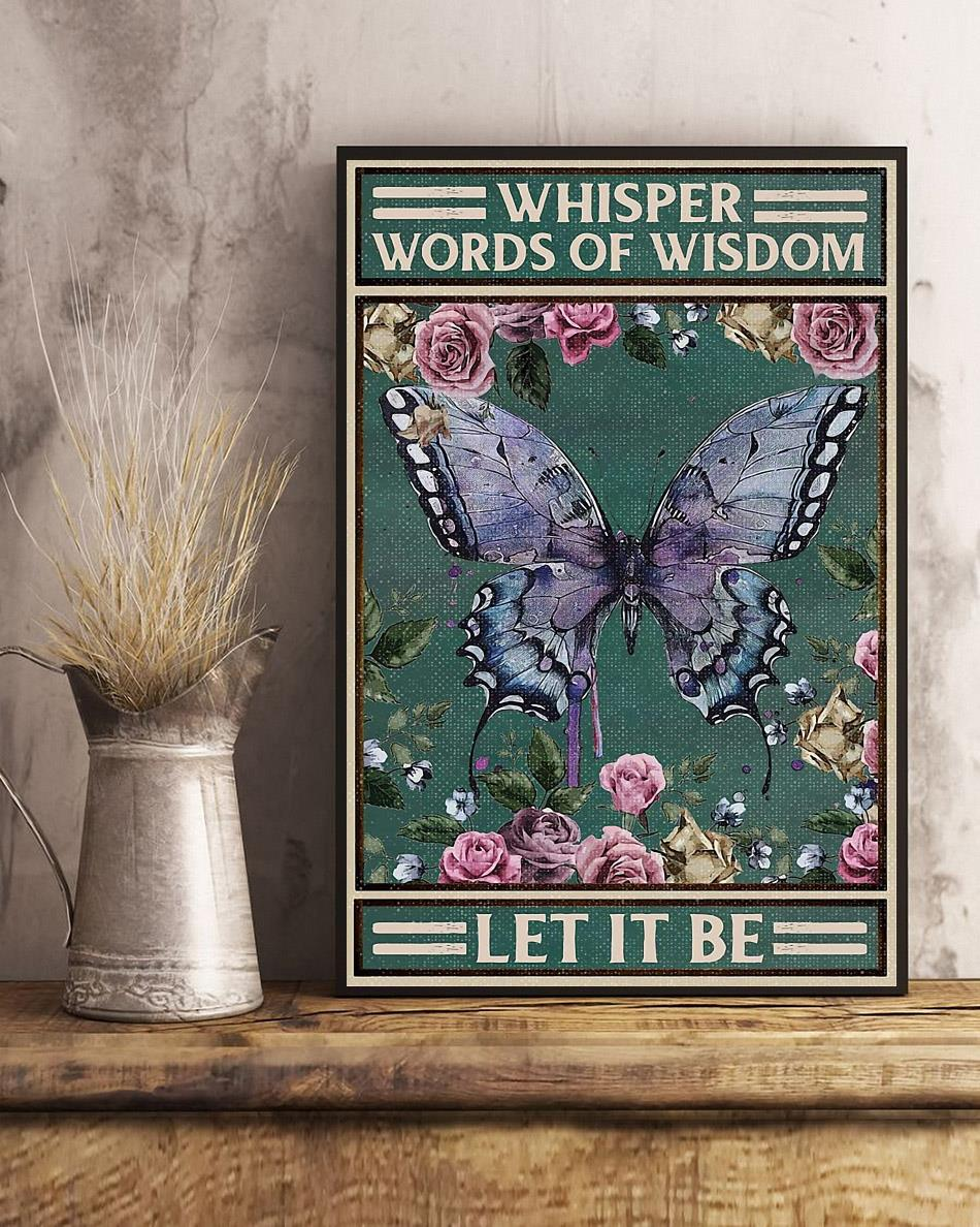 Vintage butterfly whisper words of wisdom let it be poster art