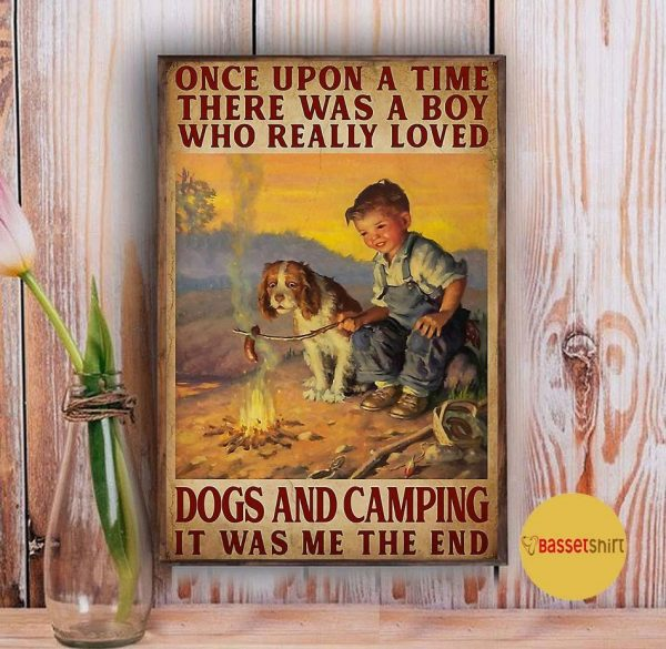 A boy who really loved dogs and camping vertical poster Vintage