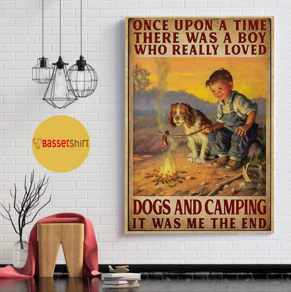 A boy who really loved dogs and camping vertical poster