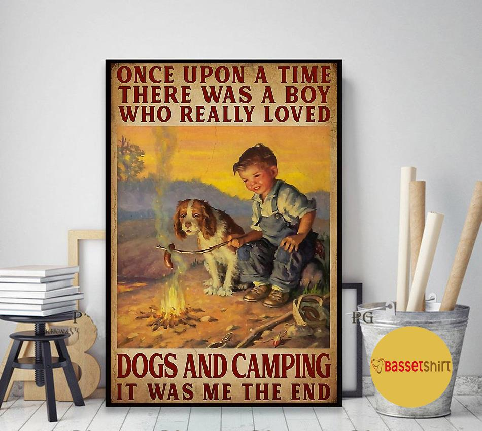 A boy who really loved dogs and camping vertical poster art decor