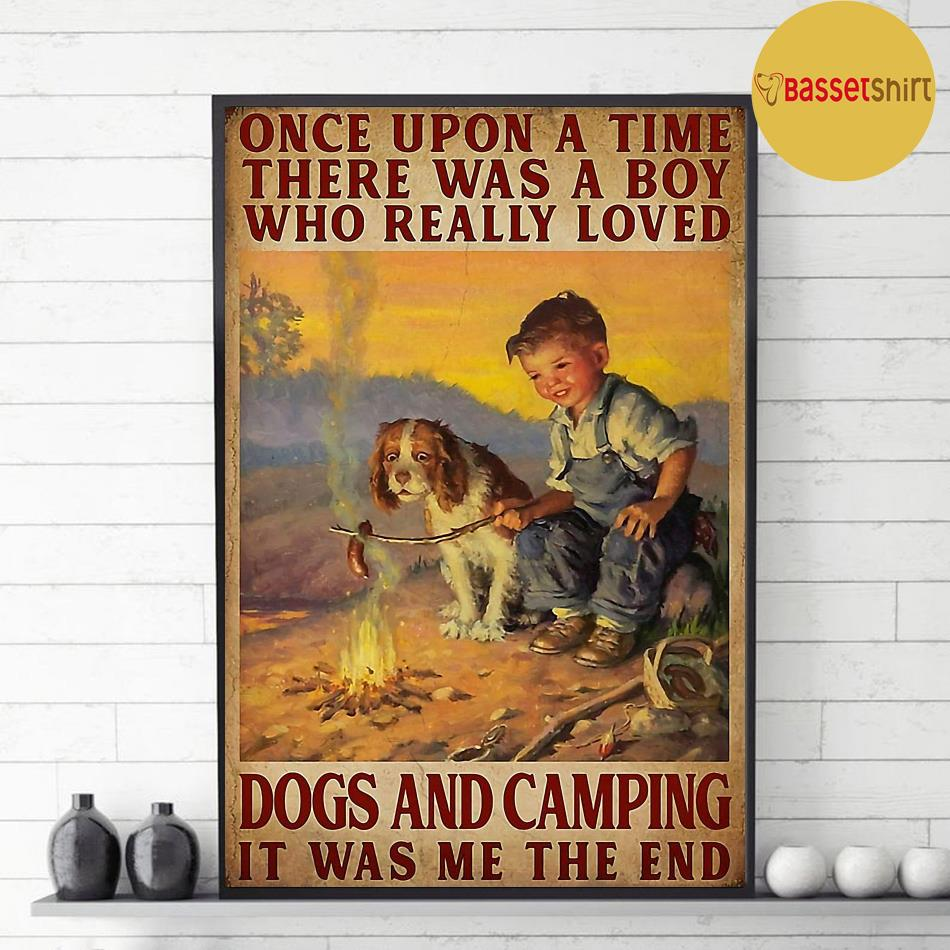 A boy who really loved dogs and camping vertical poster decor 1