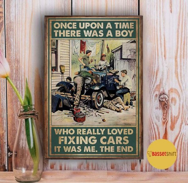 A boy who really loved fixing cars vintage poster Vintage