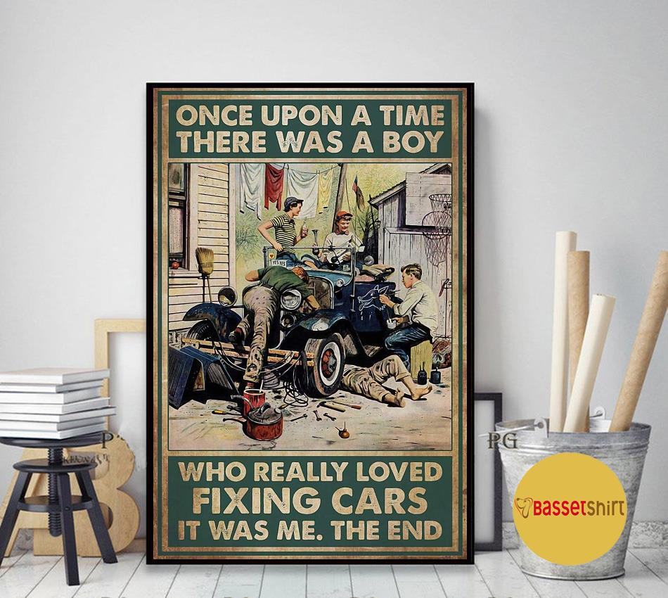 A boy who really loved fixing cars vintage poster art decor