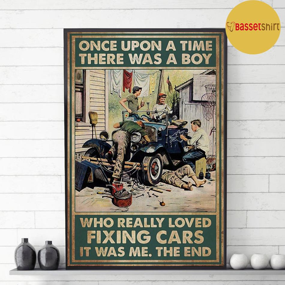 A boy who really loved fixing cars vintage poster decor 1