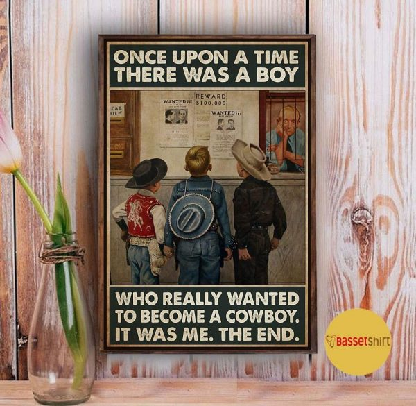 A boy who really wanted to become a cowboy vertical poster Vintage