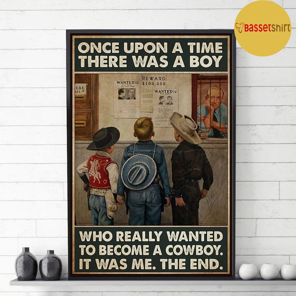 A boy who really wanted to become a cowboy vertical poster decor 1