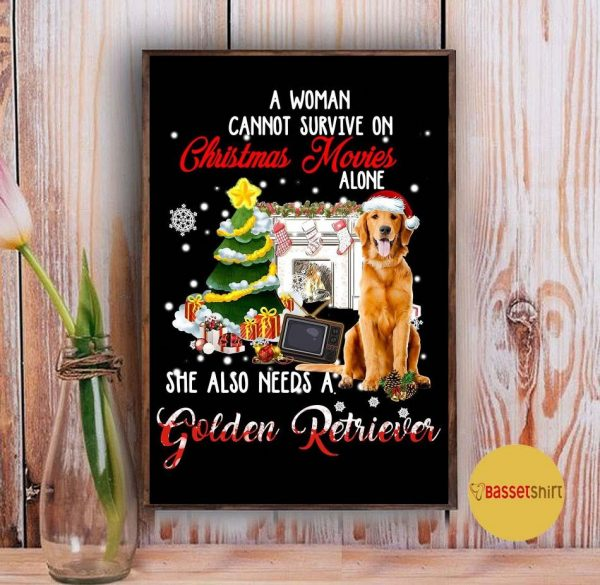 A woman cannot survive on Christmas movies alone Golden Retriever poster Vintage