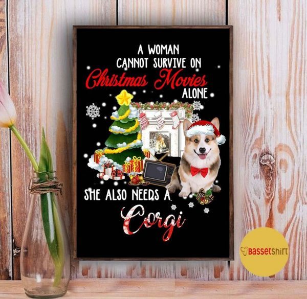 A woman needs a corgi to survive on Christmas movies poster Vintage