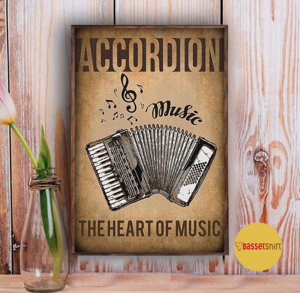 Accordion the heart of music vintage poster Vintage