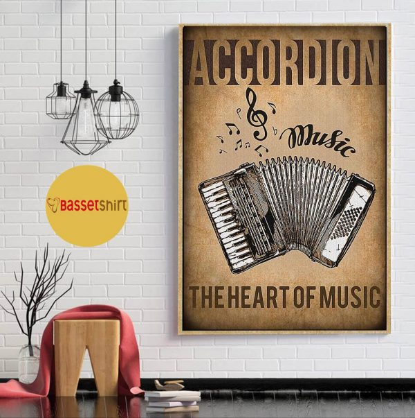 Accordion the heart of music vintage poster