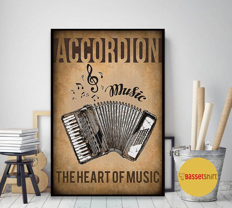 Accordion the heart of music vintage poster art decor