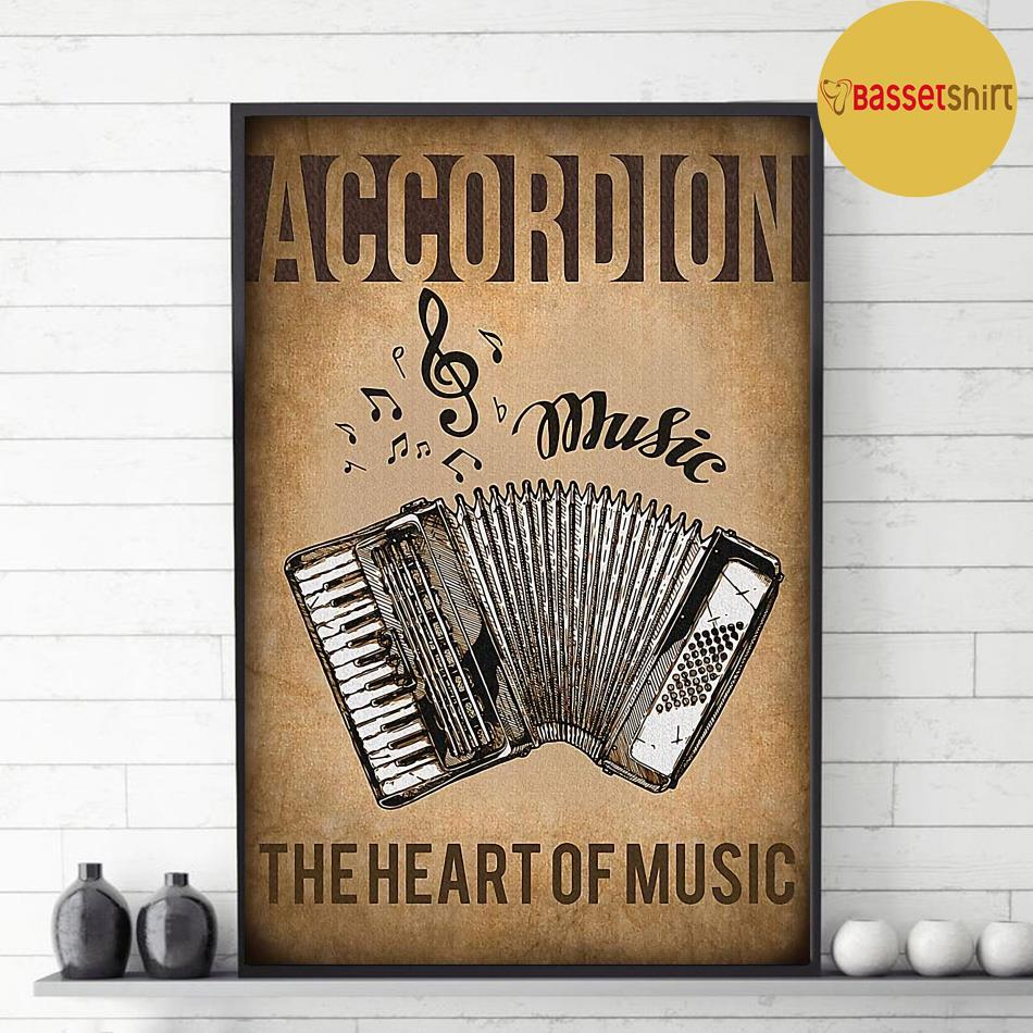 Accordion the heart of music vintage poster decor 1