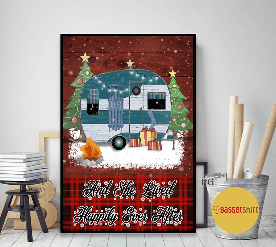 Christmas Camping and she lived happily ever after poster art decor