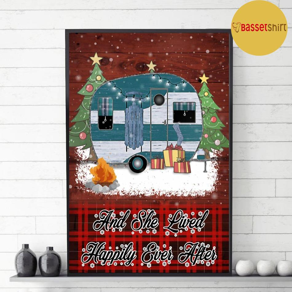 Christmas Camping and she lived happily ever after poster decor 1