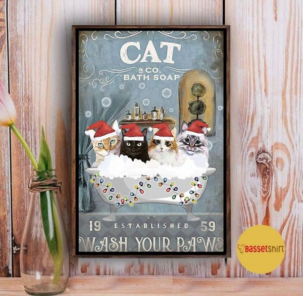 Christmas Cat bath soap wash your paws poster Vintage