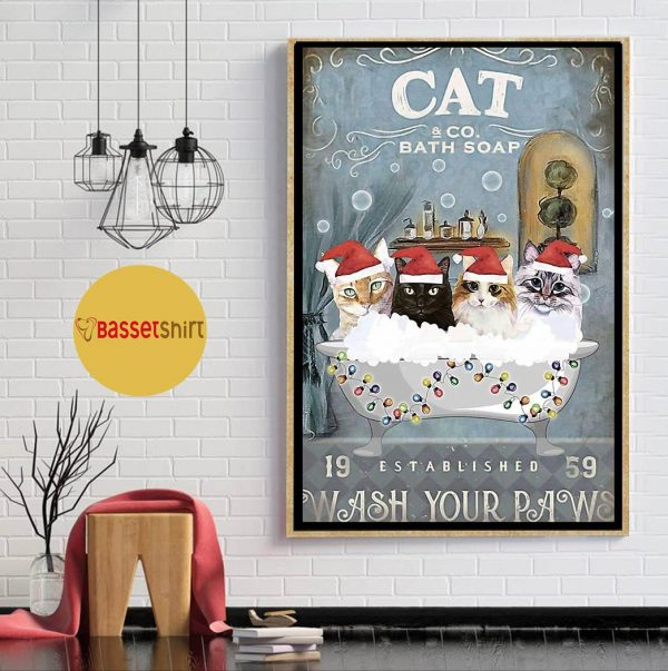 Christmas Cat bath soap wash your paws poster
