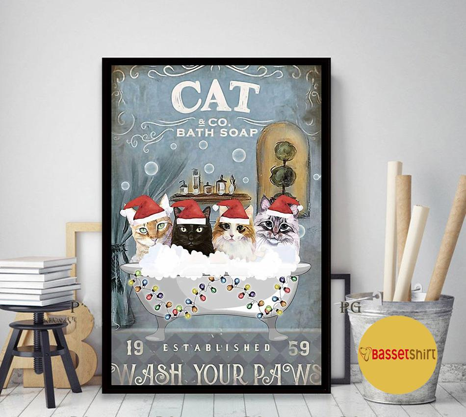 Christmas Cat bath soap wash your paws poster art decor