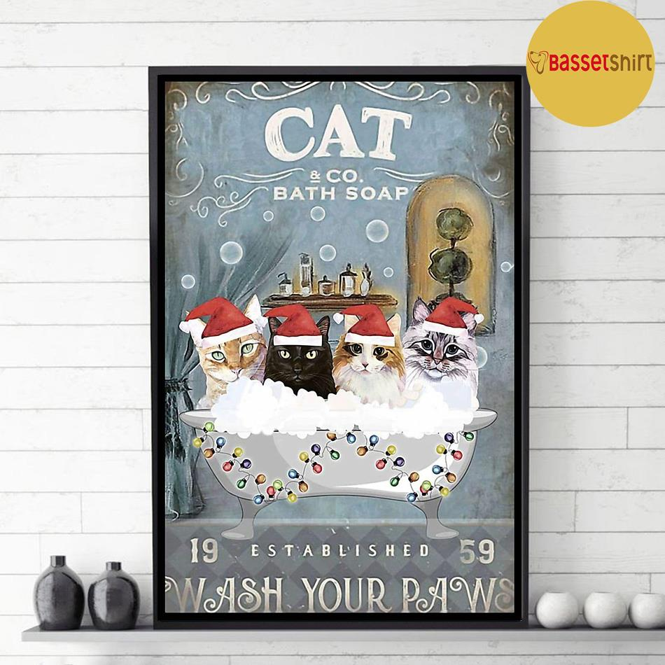 Christmas Cat bath soap wash your paws poster decor 1