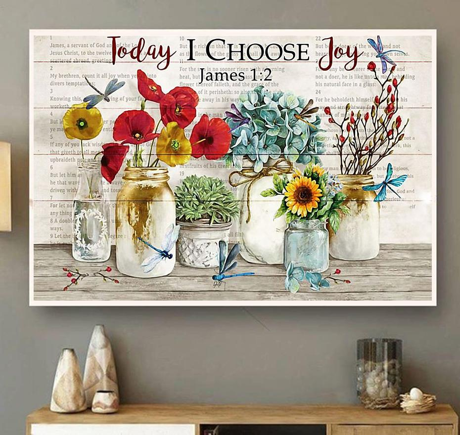 Dragonfly today I choose joy wrapped canvas wall art