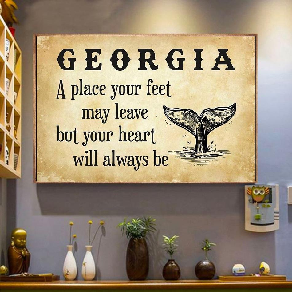 Georgia a place your feet may leave but you heart will always be canvas wrapped canvas