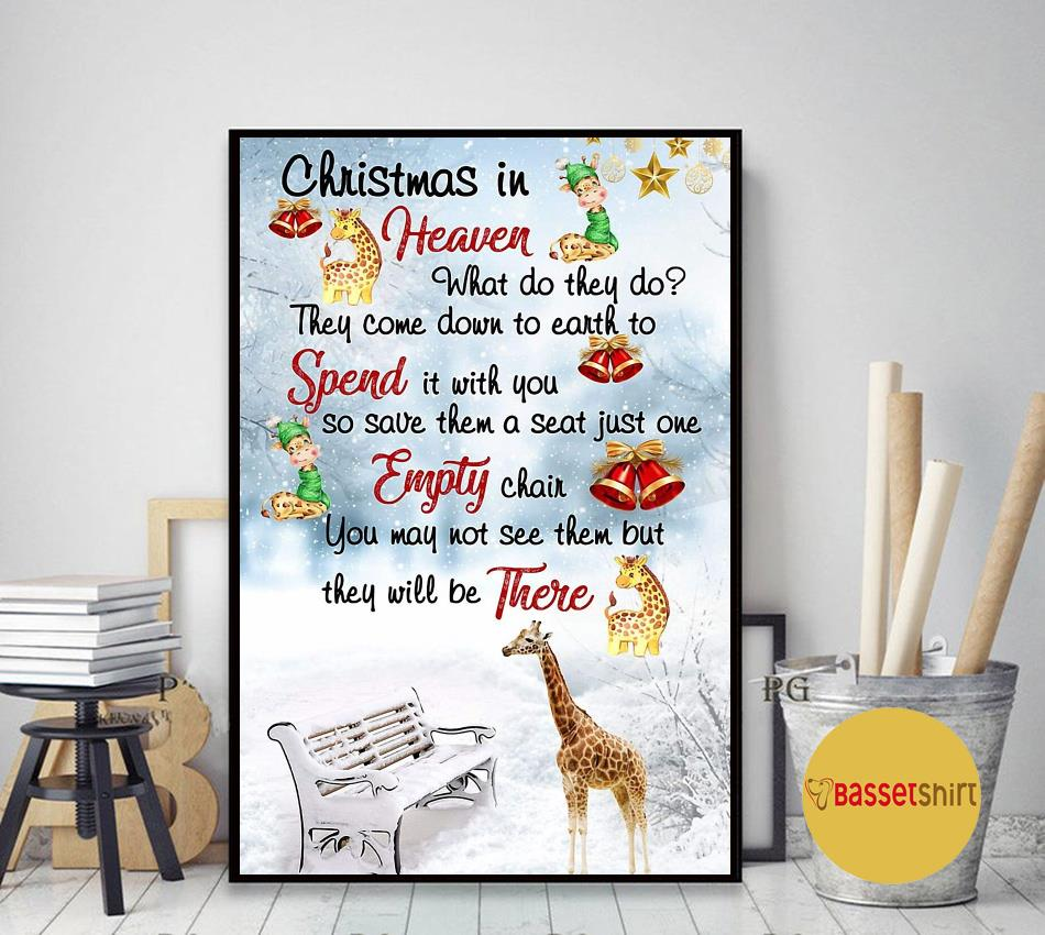 Giraffe Christmas in Heaven poster art decor
