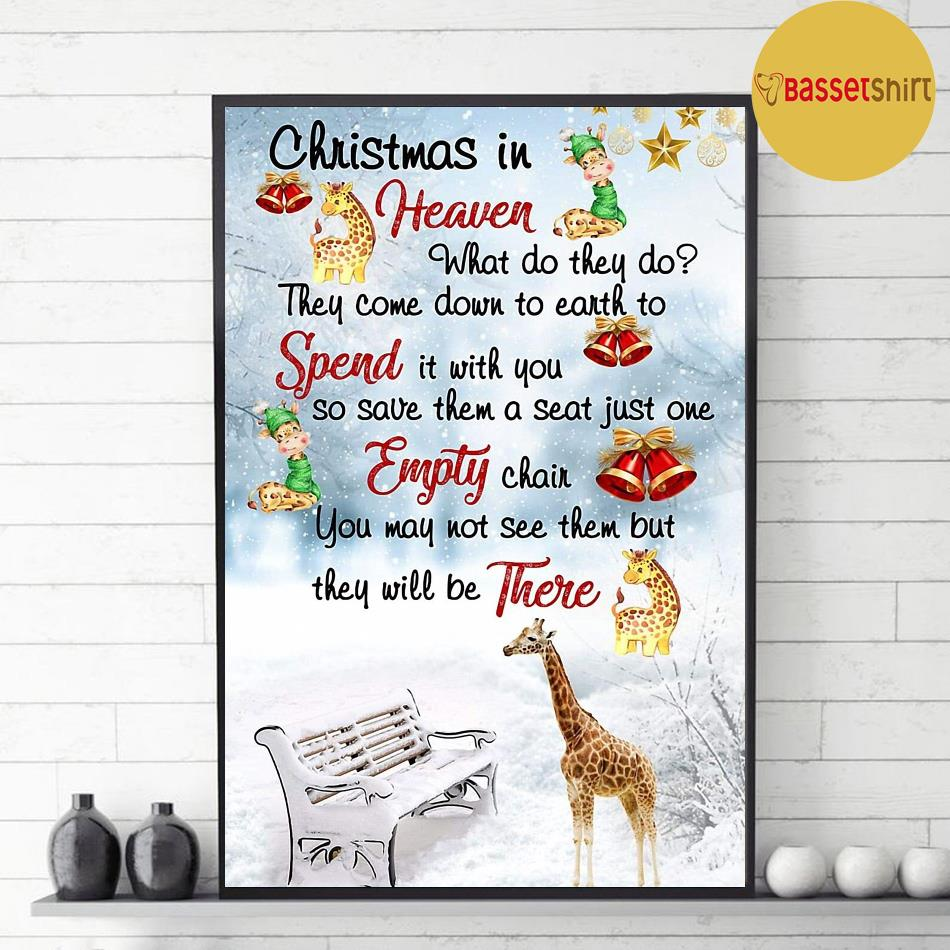 Giraffe Christmas in Heaven poster decor 1