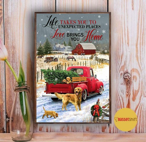 Golden Retriever red truck life takes you to unexpected places poster Vintage