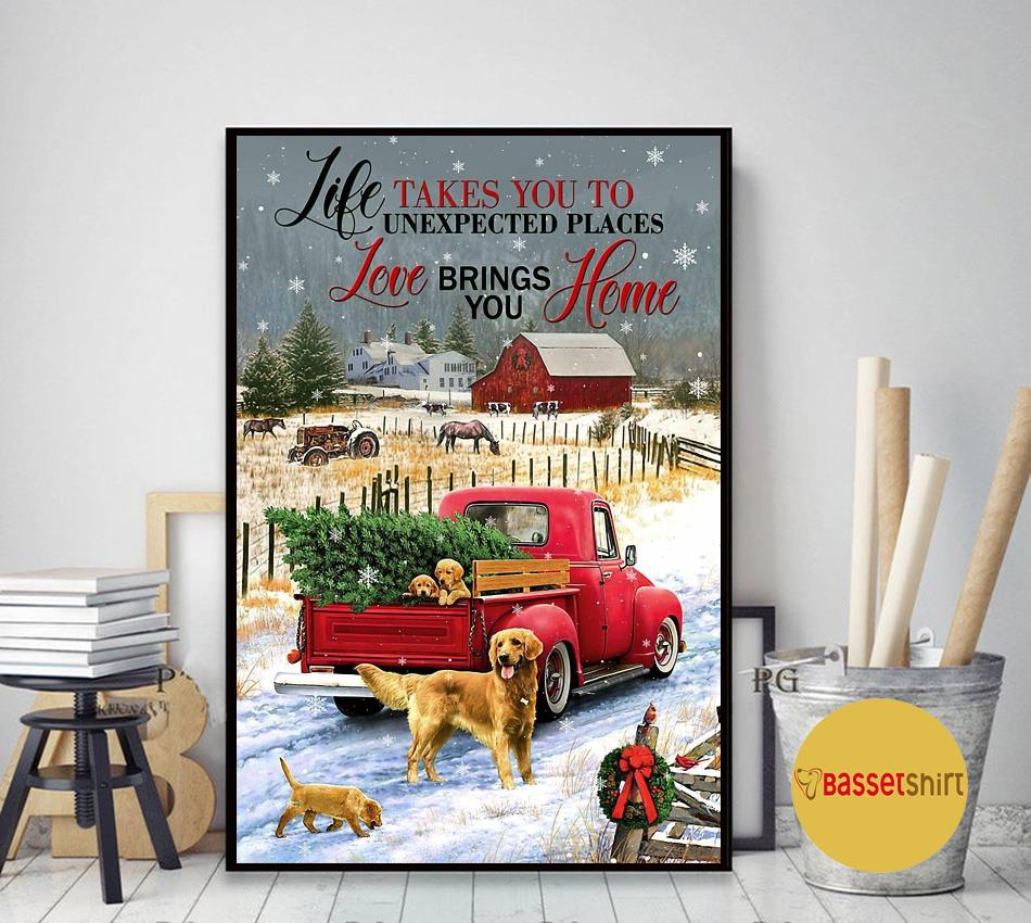 Golden Retriever red truck life takes you to unexpected places poster art decor