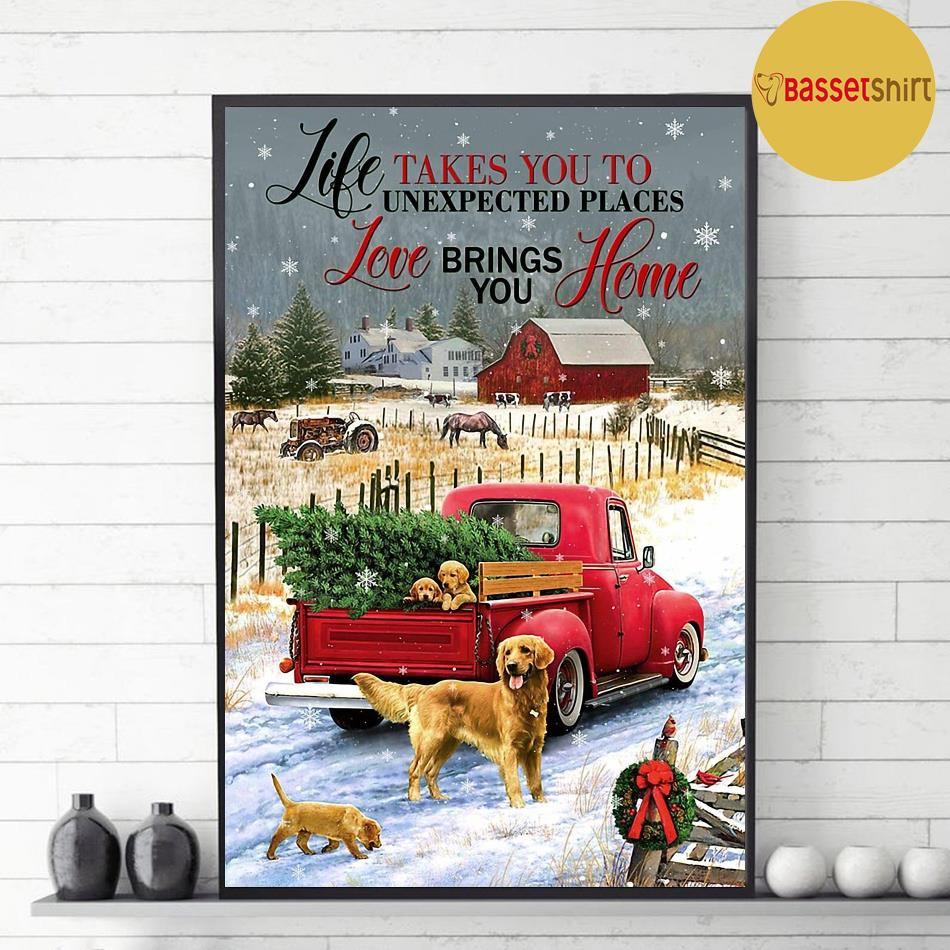 Golden Retriever red truck life takes you to unexpected places poster decor 1