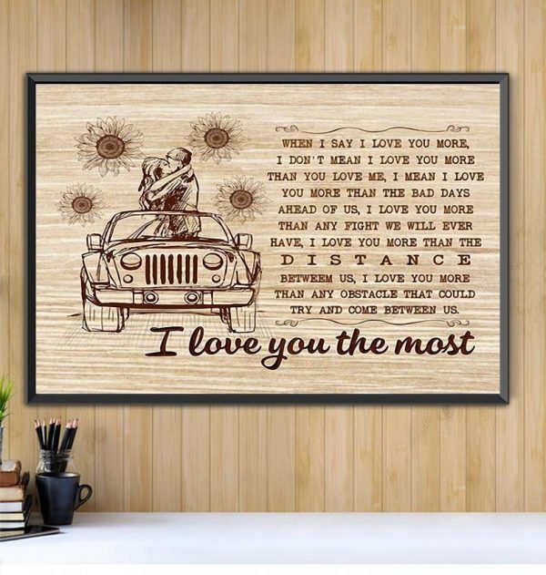 I love you the most wall canvas Black canvas