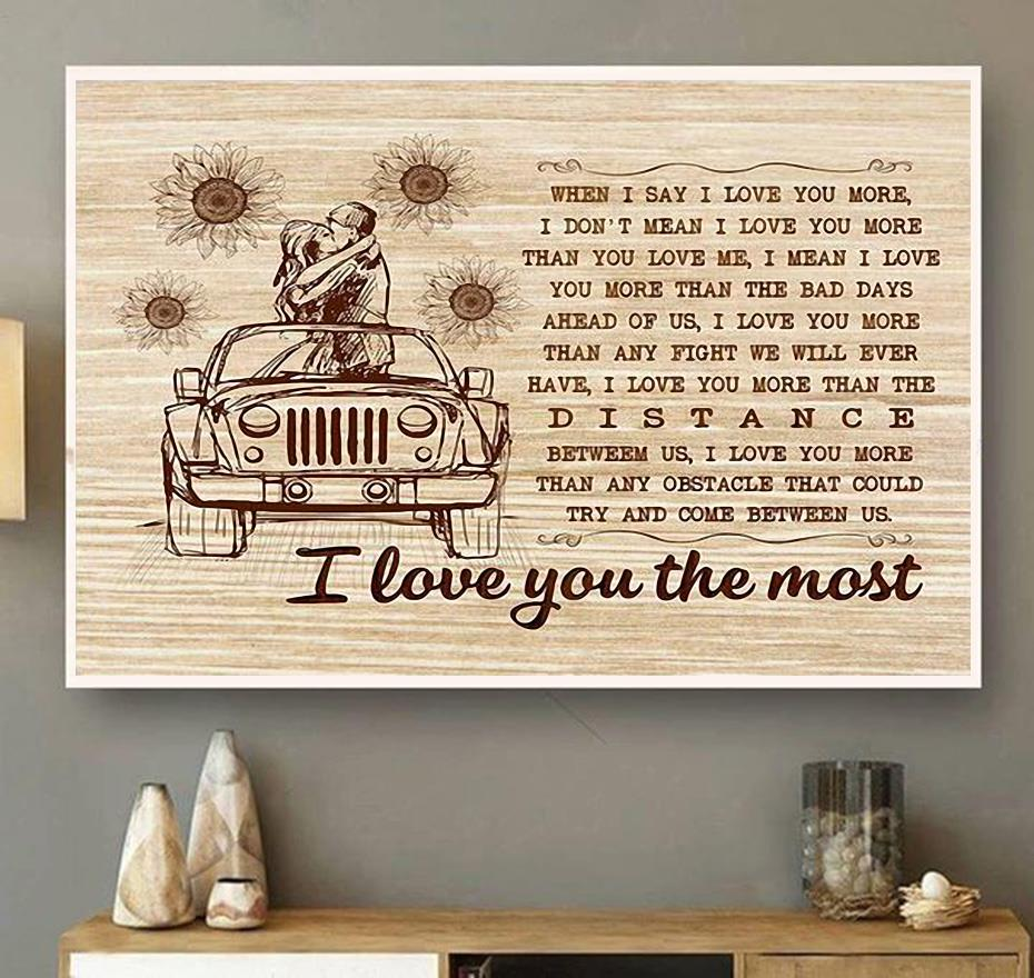I love you the most wall canvas wall art